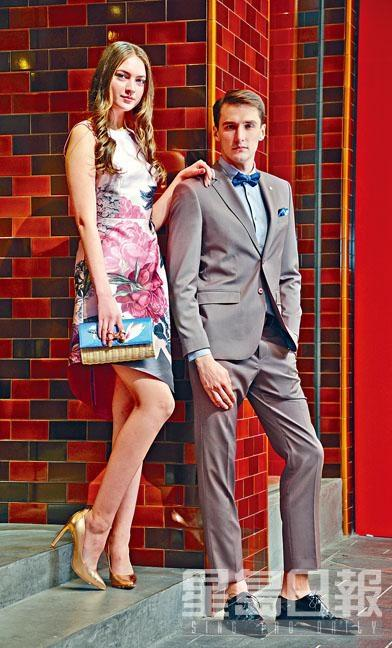 ●On Her:粉紅色花卉圖案連身裙\$3,350、藍色花卉圖案藤織Clutch\$1,295、玫瑰金色高跟鞋\$2,195;On Him:淡灰粉紅色恤衫\$1,395、藍色煲呔\$595、灰粉紅色西裝褸\$5,695及西褲\$2,350、黑色暗花皮鞋\$3,695。