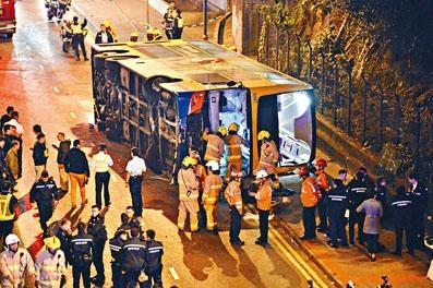 雙層城巴去年在藍田鯉魚門道撞壆翻側,造成一死二十傷。
