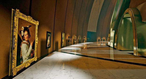 在虛擬視像展示中,虛擬博物館還是擁有實體博物館建築特色,例如拱頂天花板、長走廊等。