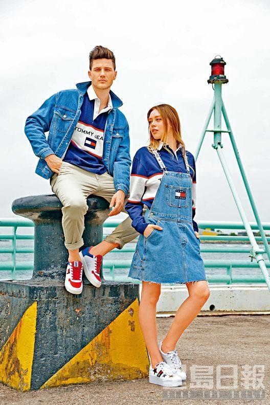 On Pavel:別注系列Logo牛仔褸、拼色欖球員Polo恤、卡其色斜布褲、紅白藍Logo波鞋;On Agne:別注系列牛仔工人裙、拼色欖球員長袖Polo恤、白色星形圖案厚底波鞋。
