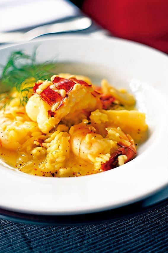 龍蝦帶子虎蝦配意大利飯飯身充滿濃濃蜆湯鮮味。