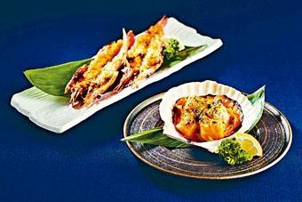 ●海膽醬燒赤海蝦(左,$78/份)、海膽醬燒帶子(右,$82/份),無論單吃或配上清酒品嘗同樣出色。