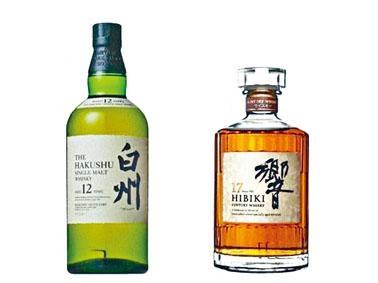 三得利兩款當紅威士忌「白州12年」和「響17年」。