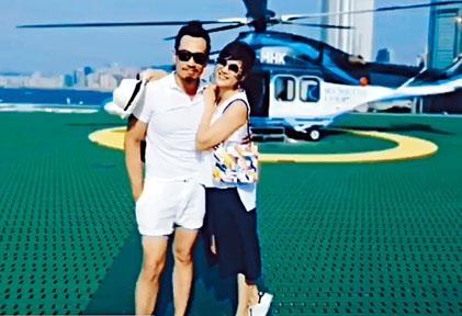 陳豪、陳茵媺展開甜蜜之旅,兩公婆甜蜜坐直升機。