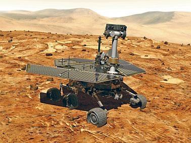 火星探測車「機遇號」模擬圖。