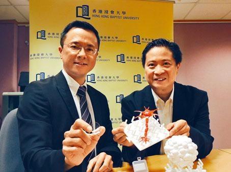 黃陟峰與翁建霖研發的「幹細胞納米培養器材」,毋須使用生長因子,亦可調控神經幹細胞,有助減輕致癌風險。