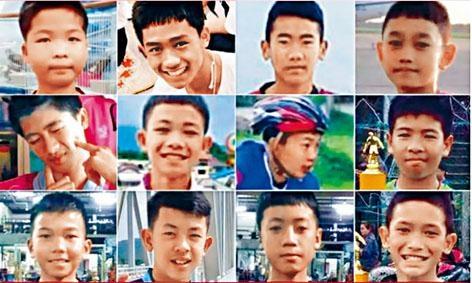 十二名十一歲至十六歲的少足隊員,以及其二十五歲的助理教練(下圖),受困逾兩周後全部獲救。
