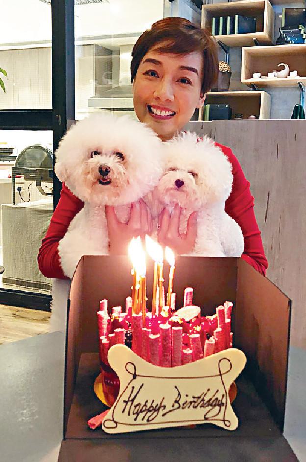 ■江美儀攬住兩隻愛犬過生日已經好開心。