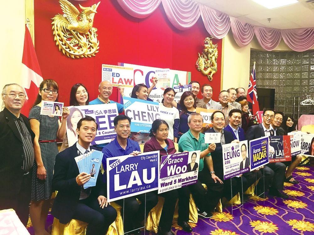 參加本屆市選的部分華裔候選人,大部分是來自萬錦市,與華文傳媒見面。