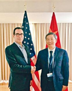 美國財長努欽和中國央行行長易綱昨日會談。