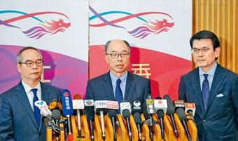 ■邱騰華(右)指,廣東省文化旅遊廳已經答覆港府並下達指令,要求訪港團必須嚴格遵守香港的法例。