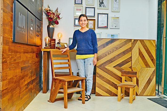 八十後女生黃明慧(Sue)於2013年創立以廢木回收製作家具的「木一番」。