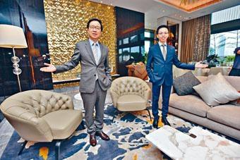 新地雷霆表示,海璇將於月底入伙,首推平台特色戶招標。旁為陳漢麟。