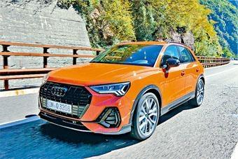 ●測試的橙色Q3 45TFSI頂級版加有全套原廠S-Line包圍、亮黑鬼面罩及窗框,還有20吋胎軨,跑格鮮明;車身體積較上代擴大不少,形象更覺高級,操控更加靈活敏捷。