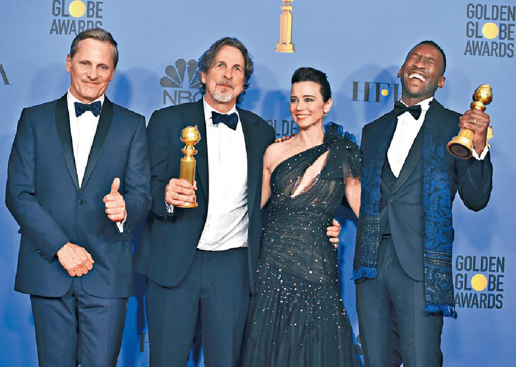 ■《綠簿旅友》奪三獎,包括Marhershala Ali(右一)的男配角獎。美聯社