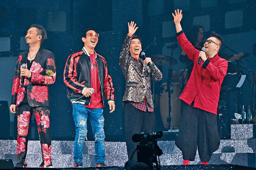 ■左起:鄭中基、李璨琛、張達明及谷德超宣佈拍《龍咁威3》。