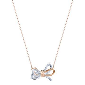 Lifelong Bow系列中的蝴蝶結拼色水晶項鏈。