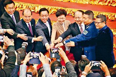■鄉議局新春團拜昨早舉行,特首林鄭月娥、中聯辦主任王志民及各司局長均有出席。