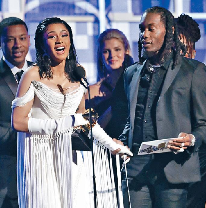 ■Cardi B破紀錄成首位女歌手贏得最佳饒舌大碟獎。美聯社