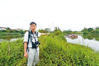 劉惠寧表示,濕地保育區內約有二百公頃私人業權魚塘荒廢,他身後的魚塘,旁邊一間房屋近乎被淹沒,估計此魚塘已沒人打理逾十年。