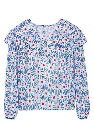 採用Ruffles設計的拼色Daisy Print上衣。