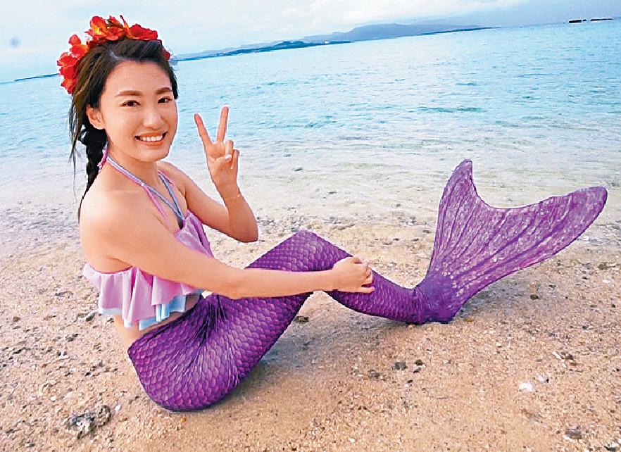 ■蔣家旻可以扮脹爆美人魚都好開心。