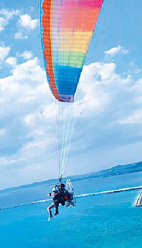 ■蔣家旻好細膽,玩空中滑翔傘驚到喊。