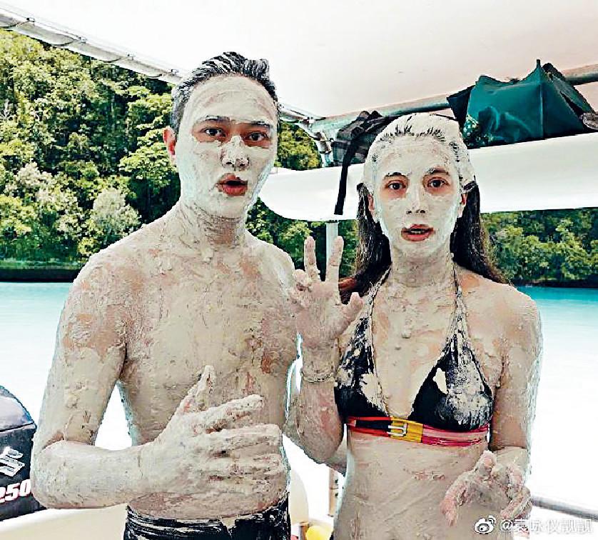 激罕水着 日前,Chilam夫婦搽晒成身泥漿,比堅尼下嘅靚靚身材好fit。
