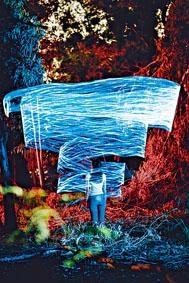 城大生以攝影作品「明日之暴」,展現少女被超級颱風「山竹」的風速數據籠罩,鼓勵思考。