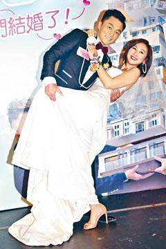 ■楊明、高Ling以新郎新娘造型宣傳新劇。