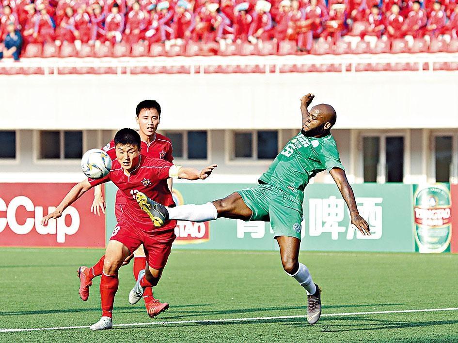 大埔(綠衫)作客以0:4慘負北韓勁旅425SC。