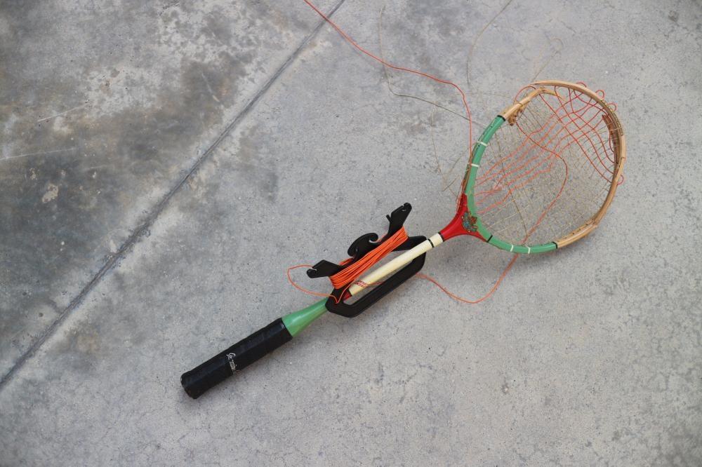 《Playcourt》的羽毛球拍,跟其他作品一樣,觀眾請眼看手勿動。