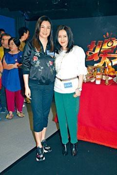 ■珍妹(右)、碧兒齊出席新劇拜神儀式。