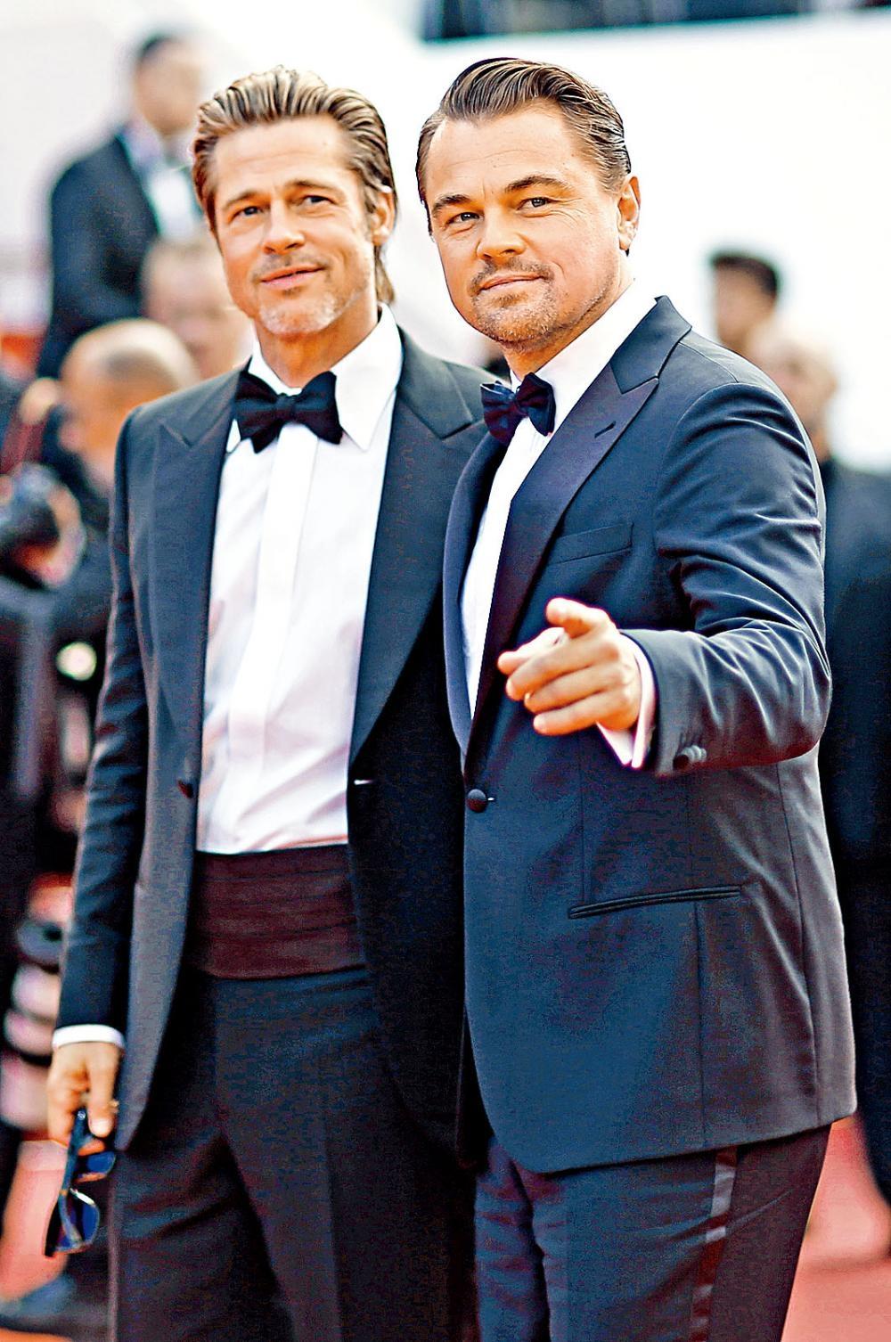 兩大男神畢彼特與里安納度昨日現身康城,出席《從前,有個荷里活》首映,在紅地氈上鬥型。