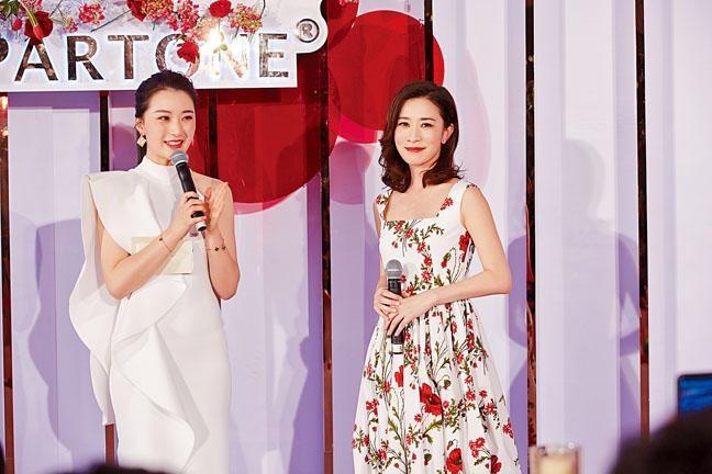 ■佘詩曼為自家唇膏在上海舉行發布會。