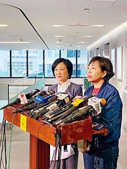 ■麥美娟(右)稱對當局回應感失望,會繼續把草案交上立法會大會。