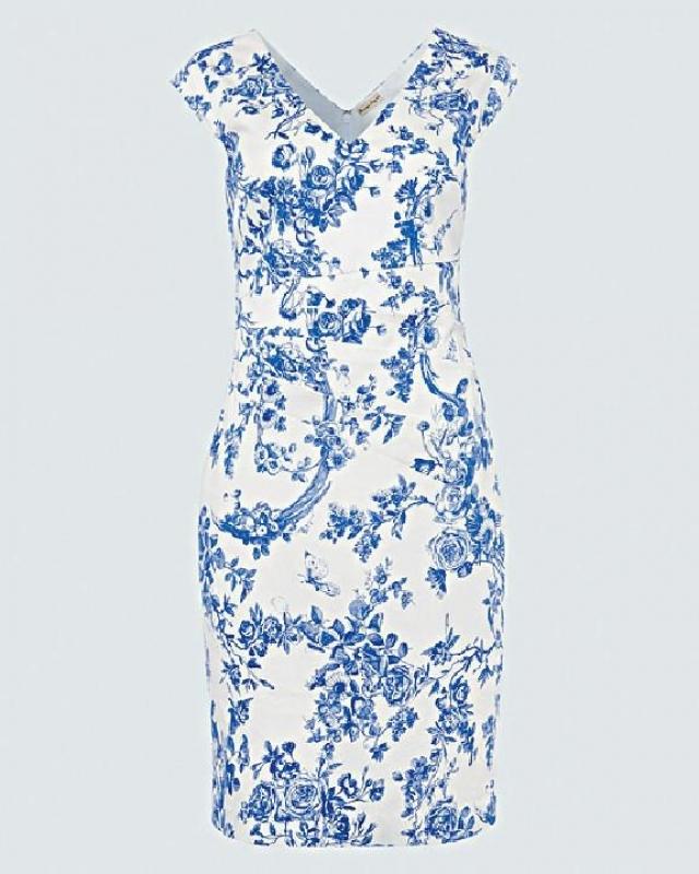 白色拼藍色圖案背心裙 原價$1,700  優惠價$1,190