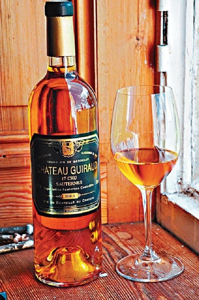 ■2003年的Chateau Guiraud貴腐甜酒配上名廚設計的特色美食,相得益彰。