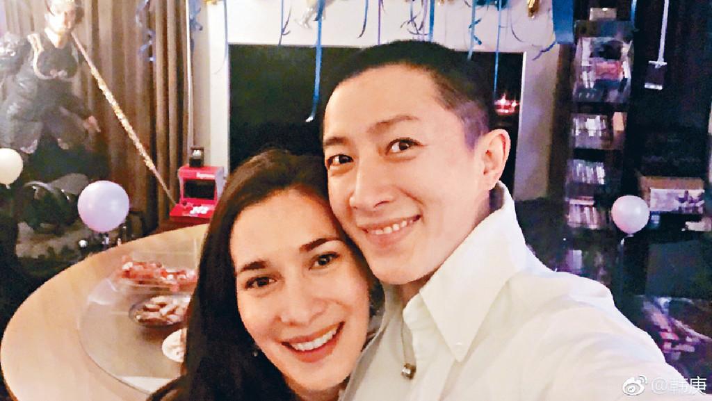 ■韓庚和女友Celina Jade將拉埋天窗。網上圖片