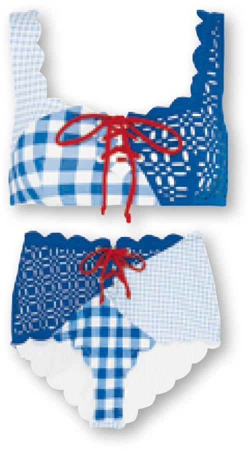 Marysia兩件式泳衣大玩拼湊設計,配以波浪邊,增添女性味道/Top、Bottom。