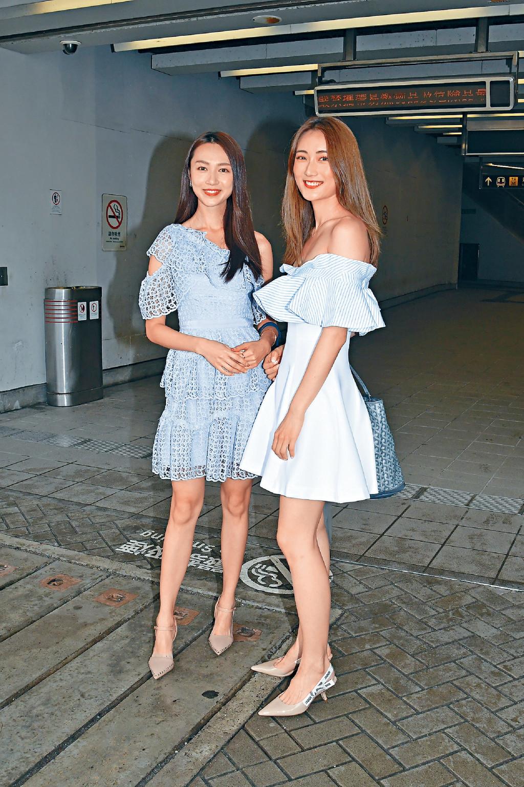 ■貌似郭可盈的Carmaney(左)曾參選過2018國際小姐,也曾拍過廣告,樣子甜美;身旁的蔡嘉欣則是KOL,同樣高挑清秀。