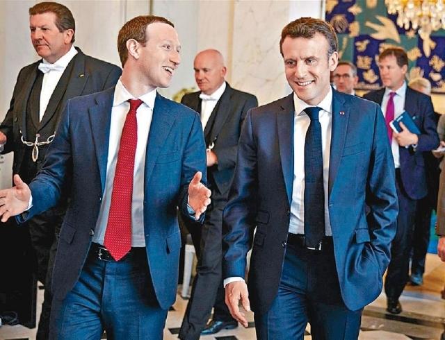■朱克伯格(左)曾與馬克龍(右)進行一連串會議,就互聯網安全商討對策。網上圖片