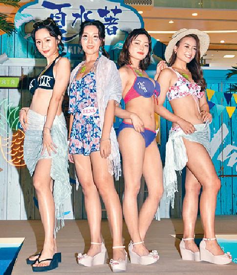 ■左起:洛兒、林秀怡、程美段和鍾晴齊現身泳衣騷。