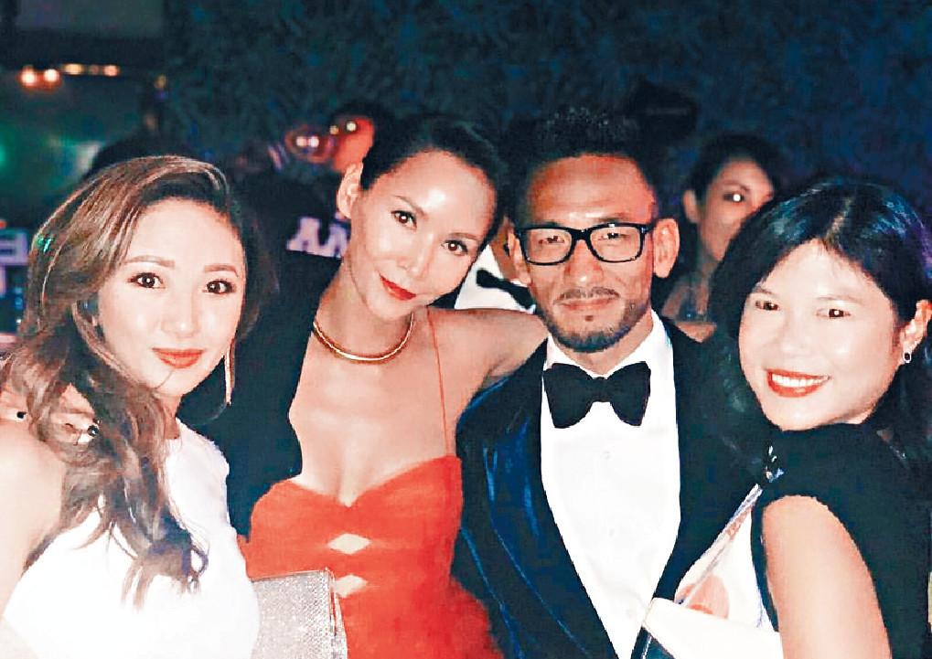 ■去年尾,Amanda與日本前國腳中田英壽出席晚宴時合照。