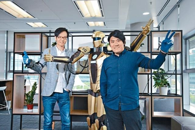 ■呂力君(左)與麥騫譽(右)共同創立公司,研發仿生動作傳感機械人。