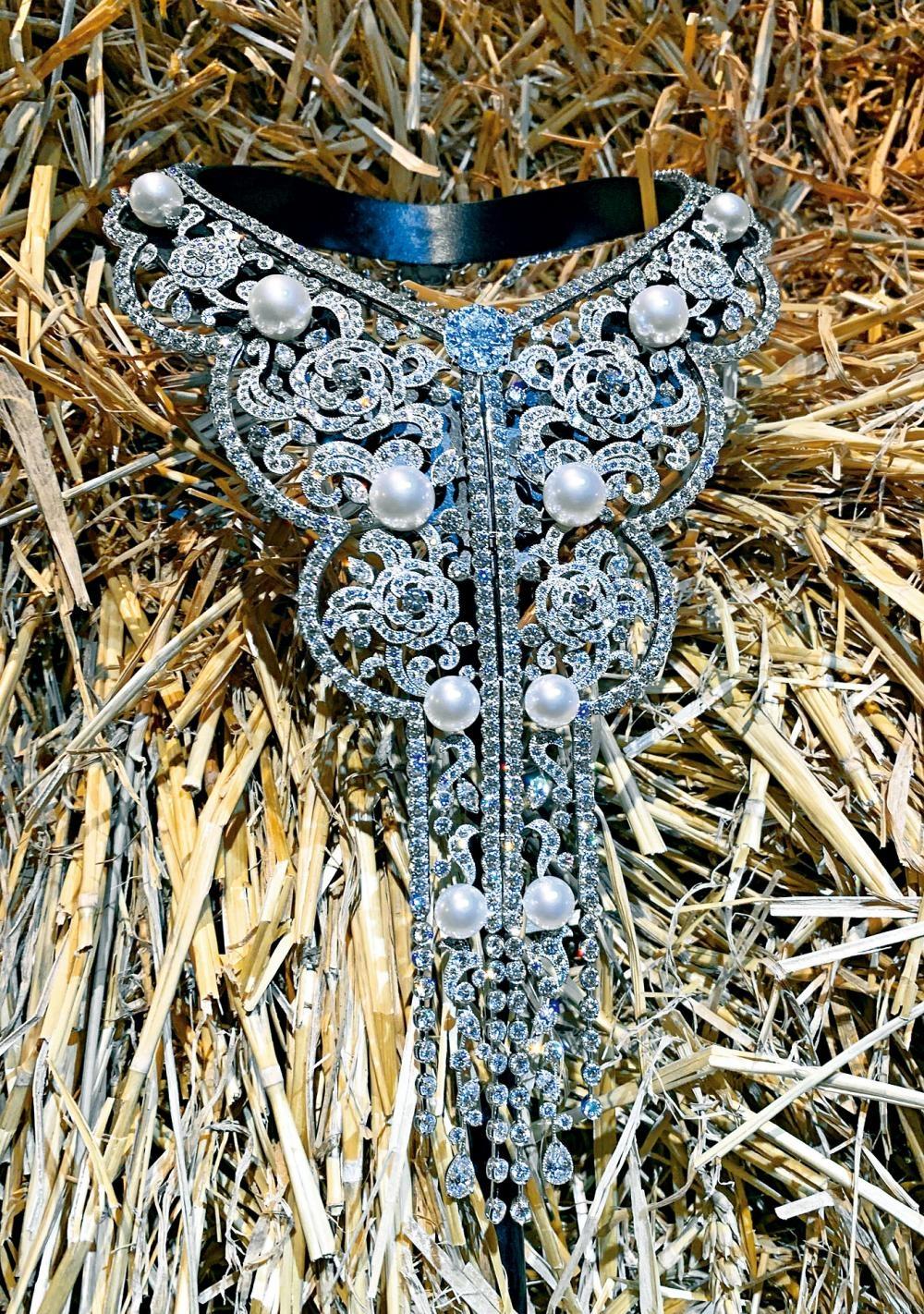 這條以白金鑲嵌不同切割的鑽石(共重接近130卡)及十顆淡粉紅養珠的Sarafane項鏈,設計恍若華麗的立體刺繡衣領。