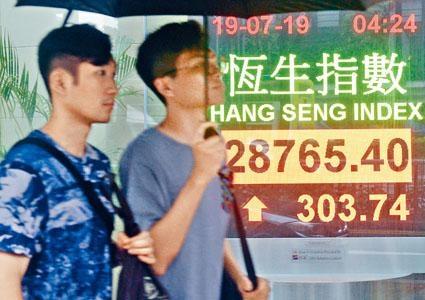 ■港股昨日升逾三百點。