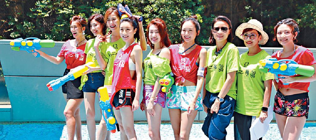 ■一眾女演員以T恤短褲亮相。