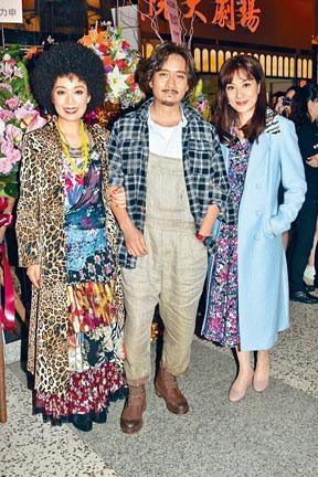 (左起)江美儀、謝君豪與張可頤的舞台劇昨日首演。