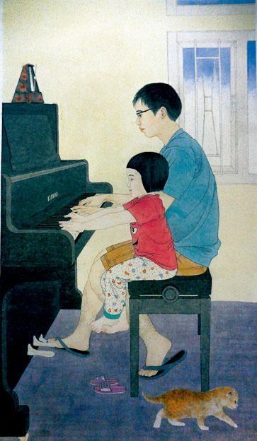 一幅十分窩心、充滿愛意的作品《父女》。